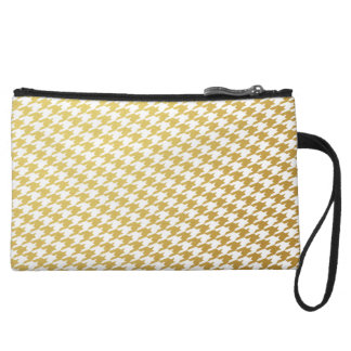 Gold & White Houndstooth Clutch Bag Wristlet Purses