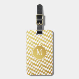 Gold & White Houndstooth Monogram Luggage Tag