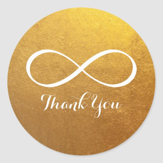 Gold White Infinity Symbol Thank You Classic Round