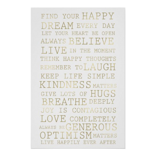 Gold White Inspirational Quotes Poster