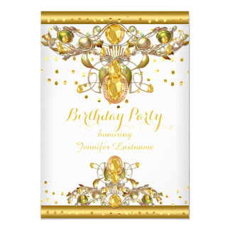 Gold White Jewelled Birthday Party Invitation 2