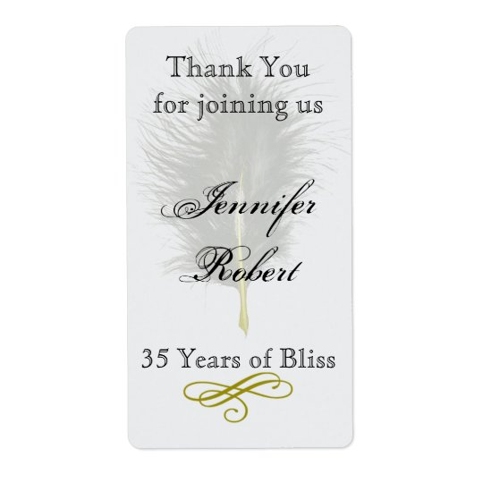 Gold White Marabou Feather Anniversary Wine Label Shipping Label