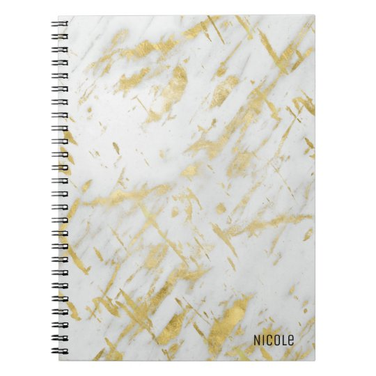 Gold & White Marble Glam Elegant Custom Notebooks