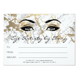 Gold White Marble Makeup Beauty Certificate Ebony2 Card