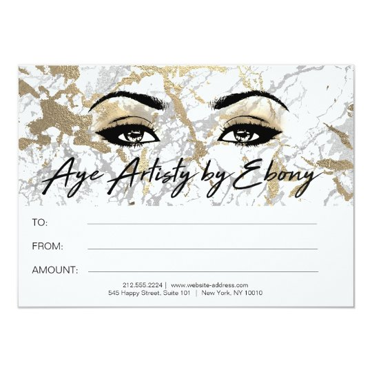 Gold White Marble Makeup Beauty Certificate Ebony Card