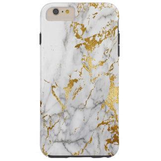 Gold White Marble Modern Pattern Urban Style Tough iPhone 6 Plus Case