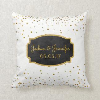 Gold White | Monogram Chalkboard Wedding Keepsake Cushion