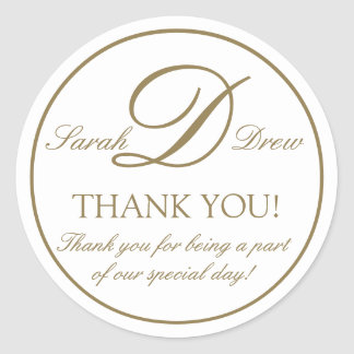 Gold White Monogram D Wedding Favor Sticker