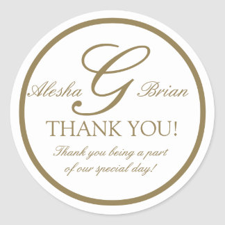 Gold White Monogram G Wedding Favour Stickers