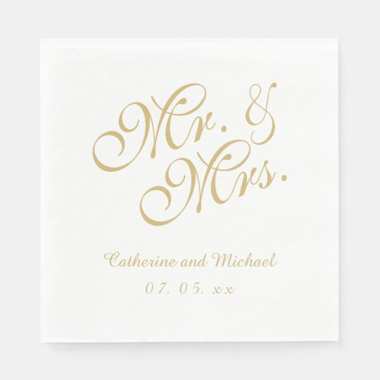 Gold White Mr. and Mrs. | Wedding Paper
