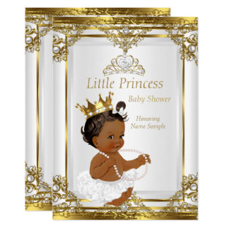 Gold White Pearl Princess Baby Shower Ethnic 13 Cm X 18 Cm Invitation Card