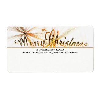 Gold & White Personalized Christmas Shipping Label