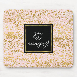 Gold White Pink Confetti Mouse Mat