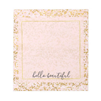 Gold White Pink Confetti Notepad