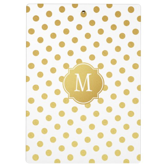 Gold & White Polka Dot Monogram Clipboard