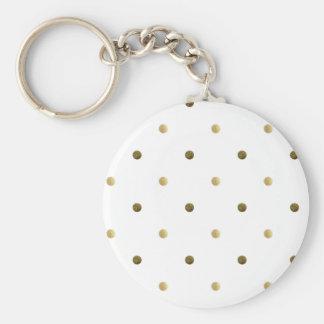 Gold White Polka Dots Golden Dots on White Basic Round Button Key Ring