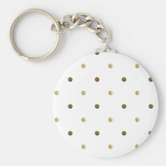 Gold White Polka Dots Golden Dots on White Key Ring