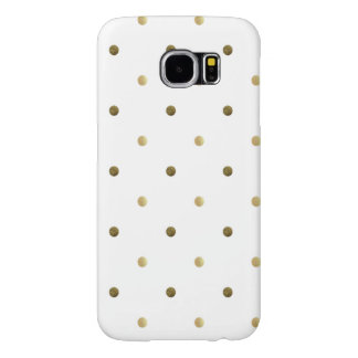 Gold White Polka Dots Golden Dots on White Samsung Galaxy S6 Cases