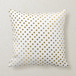Gold & White Polka Dots Modern Geometric Pattern Cushion