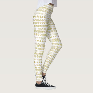 Gold/White Rows Christmas Font Art Pattern Leggings