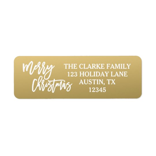 Gold White Script Merry Christmas Holiday Label