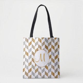 Gold, White & Silver Chevron Design Tote Bag