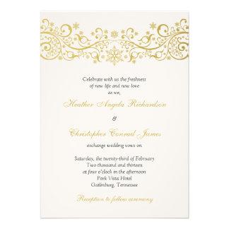 Gold White Snowflake Floral Wedding Invitation