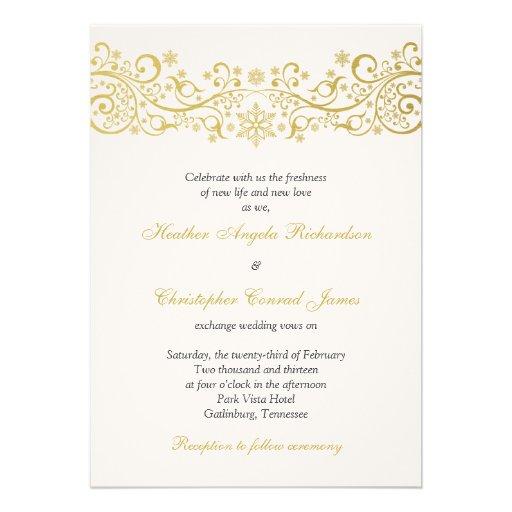 gold white snowflake floral wedding invitation 13 cm x 18 With white and gold wedding invitations uk
