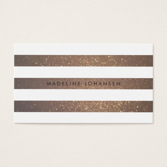 Gold White Stripes Hair Stylist Business Cards