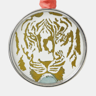 Gold/White Tiger Design Christmas Ornament