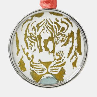 Gold/White Tiger Design Silver-Colored Round Decoration