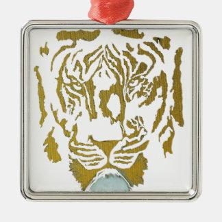 Gold/White Tiger Design Silver-Colored Square Decoration