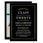 Gold & White Typography on Black   Graduate Photo Card