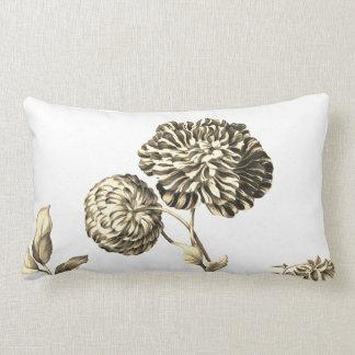 Gold & White Vintage Botanical Floral Toile No.2 Lumbar Cushion
