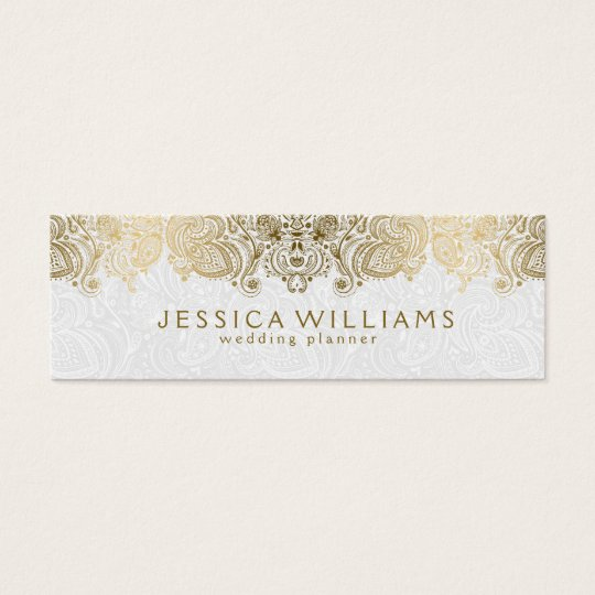 Gold & White Vintage Paisley Lace Wedding Planner