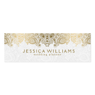 Gold & White Vintage Paisley Lace Wedding Planner Pack Of Skinny Business Cards