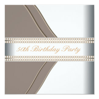 Gold White Womans 50th Birthday Party 13 Cm X 13 Cm Square Invitation Card