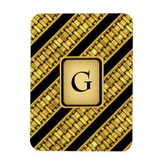 Gold Wicker Stripes Rectangular Photo Magnet