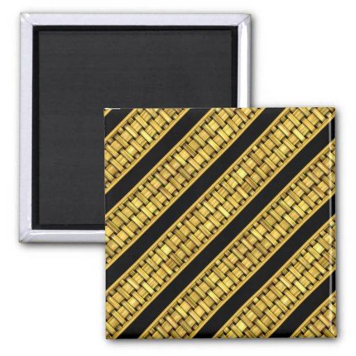 Gold Wicker Stripes Refrigerator Magnets