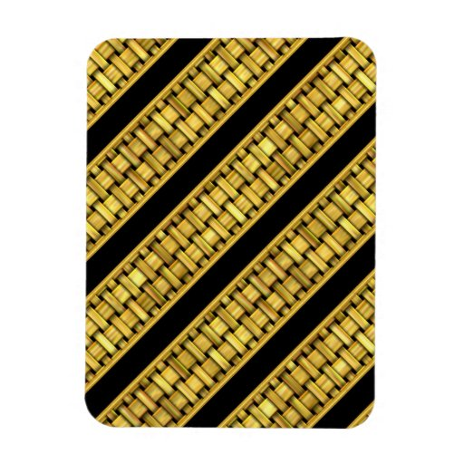 Gold Wicker Stripes Magnets