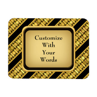 Gold Wicker Stripes Rectangle Magnet