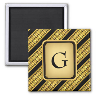 Gold Wicker Stripes Square Magnet