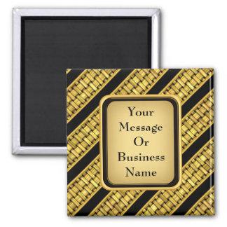 Gold Wicker Stripes Square Magnet