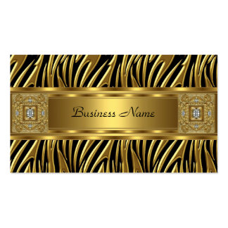 Gold Wild Zebra Black Jewel Look Image Double-Sided Standard Business Cards (Pack Of 100)