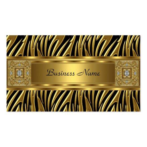Gold Wild Zebra Black Jewel Look Image Business Card