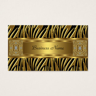 Gold Wild Zebra Black Jewel Look Image Business Card