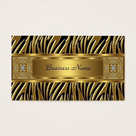Gold Wild Zebra Black Jewel Look Image Business