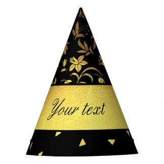 Gold Wildflowers and Scattered Triangles Party Hat