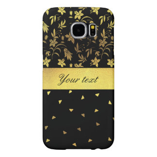 Gold Wildflowers and Scattered Triangles Samsung Galaxy S6 Cases