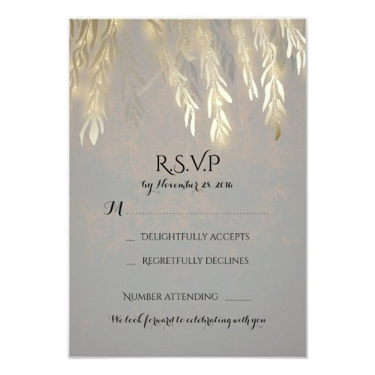 Gold Willow Tree Branches Wedding RSVP Cards